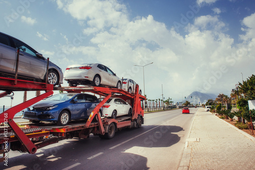 Car carrier of Trucks series. New autos coming Fototapet