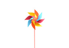 Toy Windmill Propeller Set With Multicolored Blades Isolated On White