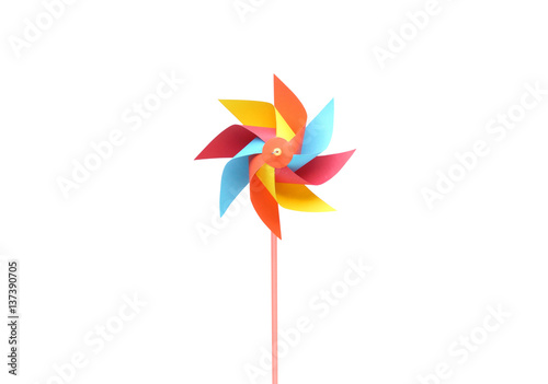 Toy windmill propeller set with multicolored blades isolated on white Tablou Canvas
