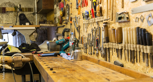 Obraz work tools and workbench at workshop - fototapety do salonu