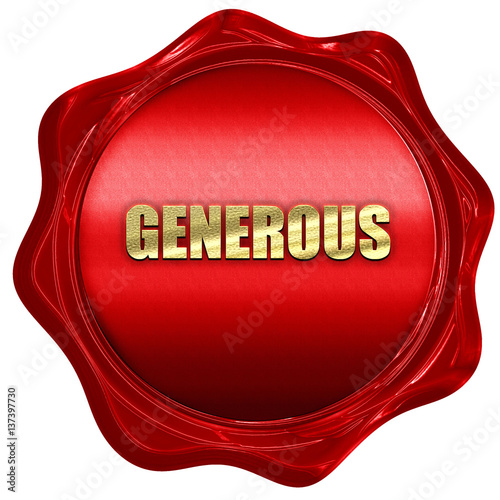 Photo  generous, 3D rendering, red wax stamp with text