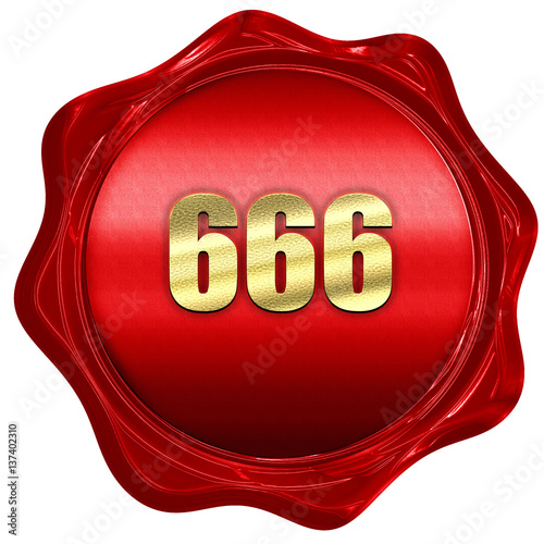 666, 3D rendering, red wax stamp with text Canvas Print