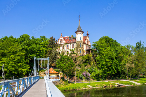 Fotografia  Längste Tragseilbrücke Sachsens, Grimma Hängebrücke über der Mulde