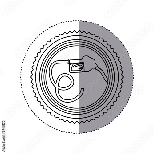 Sticker Monochrome Of Circular Frame With Bio Fuel Hose Vector