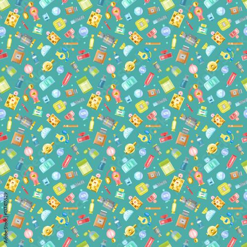 Cotton fabric Perfume glamour seamless pattern vector.