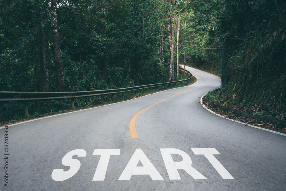 Fototapety, obrazy: Startup to success business printed on road leading towards future concept.