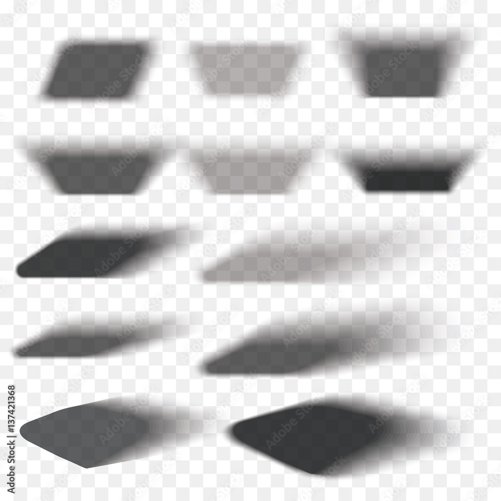 Fototapeta Box shadow set transparent with soft edges isolated on checkered background. Smooth vector under round square.Element for product design