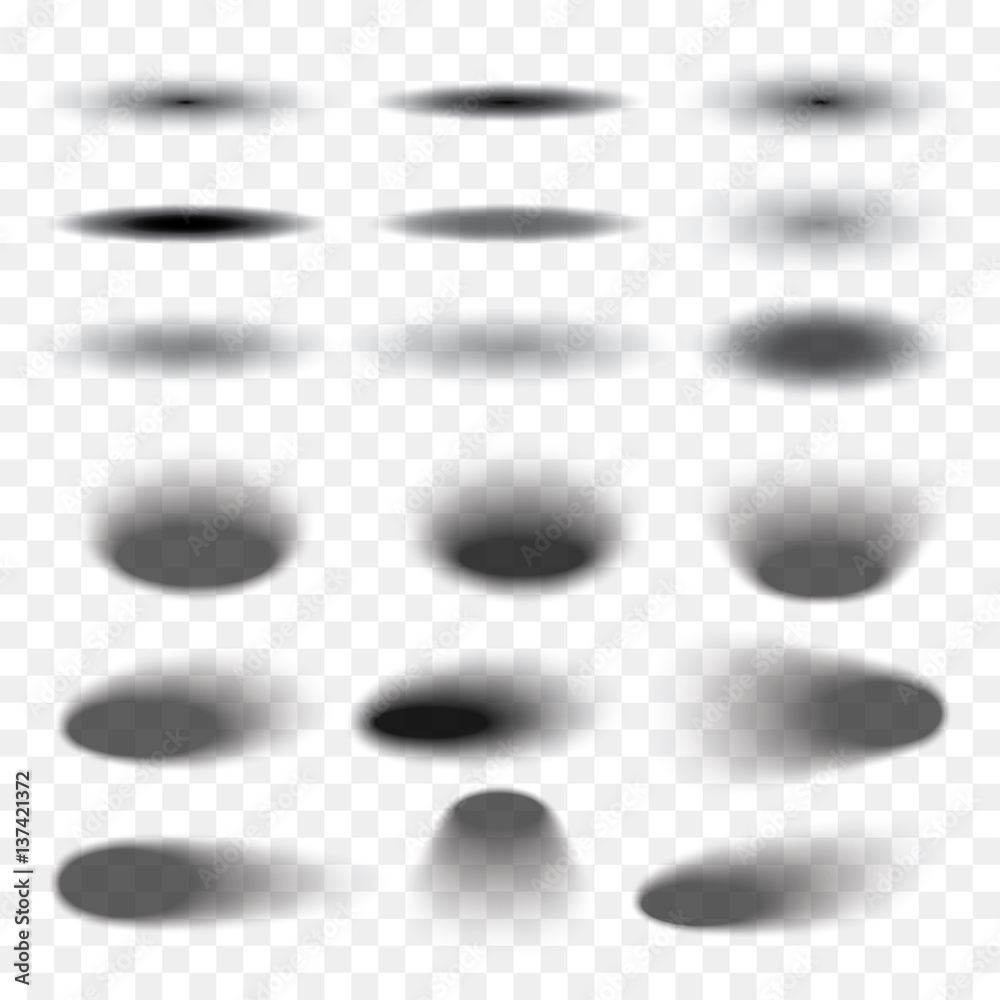 Fototapeta Oval shadow set transparent with soft edges isolated on checkered background. Element for product design