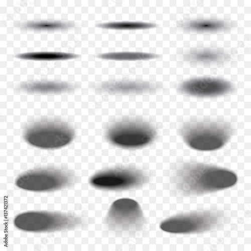 Oval shadow set transparent with soft edges isolated on checkered background. Element for product design