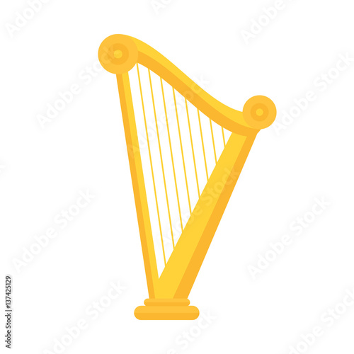Tablou Canvas Golden harp icon in flat style design