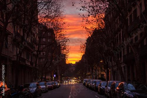 Plakat Zachód słońca nad Barceloną