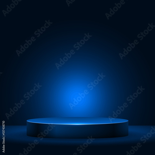 Fotomural Illuminated empty pedestal in the dark vector template.