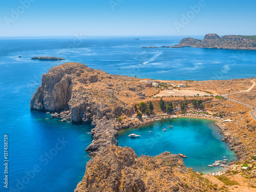 View on the Mediterranean sea from ancient Lindos ruins at Rhodes, Greece.