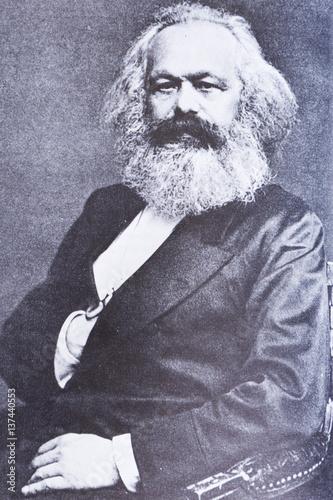 Poster Portrait Aquarelle Portrait of the philosopher Karl Marx