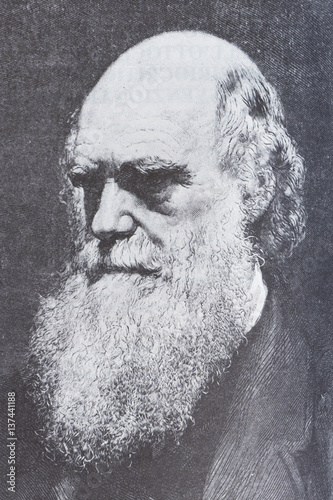 Leinwand Poster Portrait of the scientist philosopher Charles Darwin