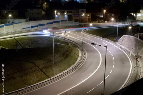 Keuken foto achterwand Nacht snelweg T crossing at night, Banska Bystrica, Slovakia