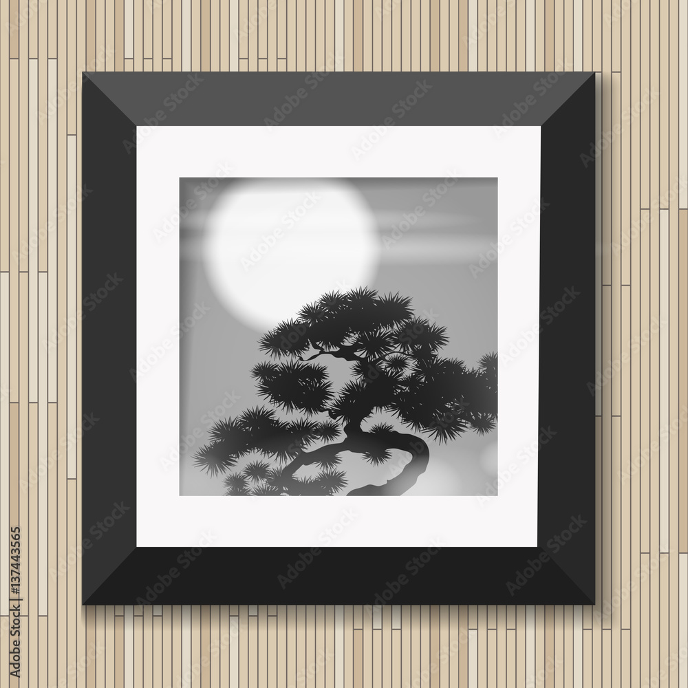 Japanese painting graphic art in frame with pine and moon on wooden background vector illustration