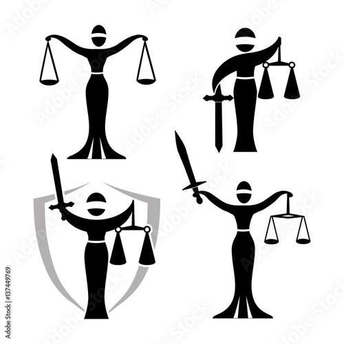 Lady Justice Black Set Vector Illustration Of Themis Statue Holding