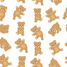 Baby Teddy Bear Seamless Pattern Background