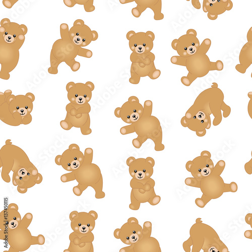 Baby teddy bear seamless pattern background