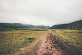 Foggy Mountains road Landscape summer Travel serene scenery wild nature calm misty view minimal style - 137451170