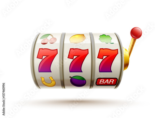 slots 3d element isolated on white with place for text casino ob плакат