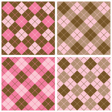 Plaid-Argyle Patterns In Pink And Brown.
