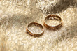 gold wedding rings on a gold cloth background