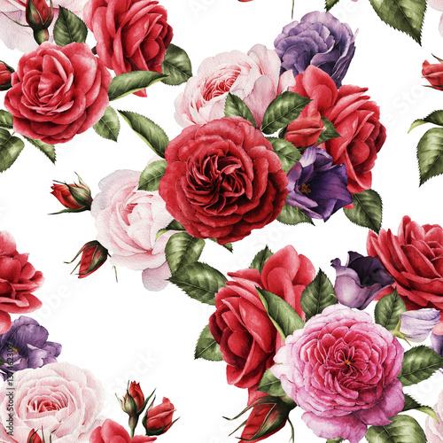 kwiatowy-wzor-z-roz-akwarela