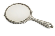 Antique Silver Hand Mirror Cut Out