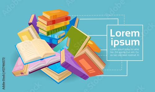 Fotografía  Books Stack School Education Concept Flat Vector Illustration