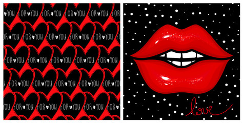 Stylish kit with fashion vector cards. Red glow lips,seamless hearts background. Designs for Valentines day, Birthday.Stylish poster in vogue style. Contrast print.