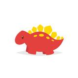 Fototapeta Dinusie - Cute dinosaur stegosaurus cartoon vector