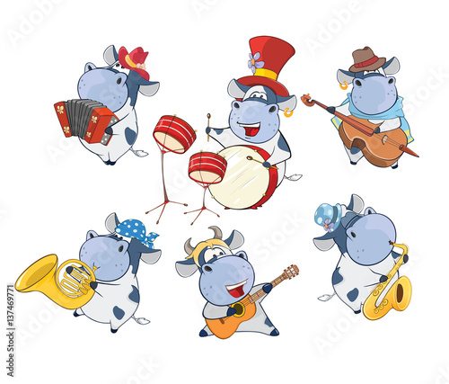 Poster de jardin Chambre bébé illustration of a Set of a Cute Cartoon Cows Musicians for you Design