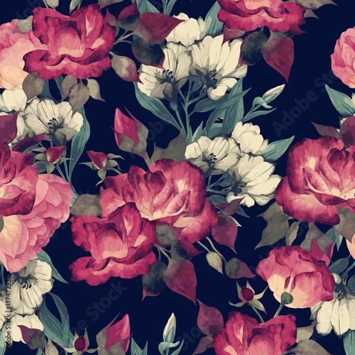 czerwone-kwiaty-roz-w-stylu-retro