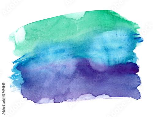 Plakat Wibrujący szmaragdowa zieleń ciemny purpurowy gradient malował w akwareli na czystym białym tle