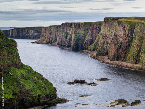 Cliffs along the coastline and the North Sea, Duncansby Head; John O'Groats, Scotland