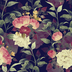 Fototapeta Róże Seamless floral pattern with roses, watercolor. Vector.