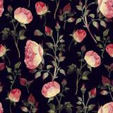 Bezszwowy kwiecisty wzór z różami, akwarela. - 137480954