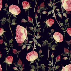 Fototapeta Róże Seamless floral pattern with roses, watercolor.