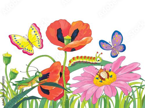 Wiosenny dzień. Śliczne kwiaty i owady. Kartka z życzeniami. 8 marca.