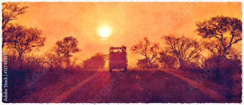 Wall Murals Brick Kruger sunset digital watercolour