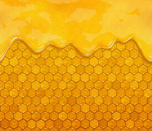 Honeycombs And Flowing Honey, Vector Background.