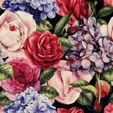 Bezszwowy kwiecisty wzór z różami, akwarela. - 137485728