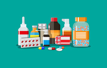Different Medical Pills And Bottles