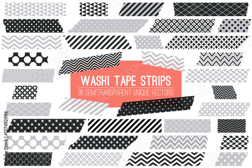 grey black and white washi tape strips with torn edges and