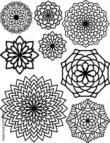 Abstract Flower Patterns Drawings Black And White