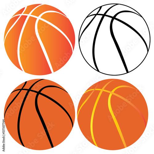 Tela  Set of basketball balls on a white background, Vector illustration