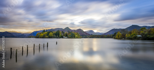 Staande foto Bleke violet Derwent water in the District Lake, amazing landscape