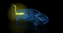 Electric Car  Charging From Large Glowing Battery. 3d Render